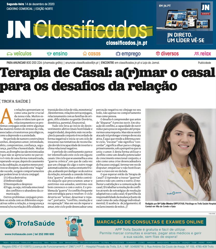 Artigo do JN sobre Terapia de Casal
